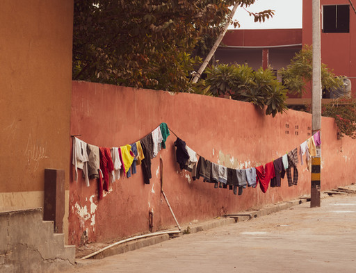clothing hanging out to dry laundry line