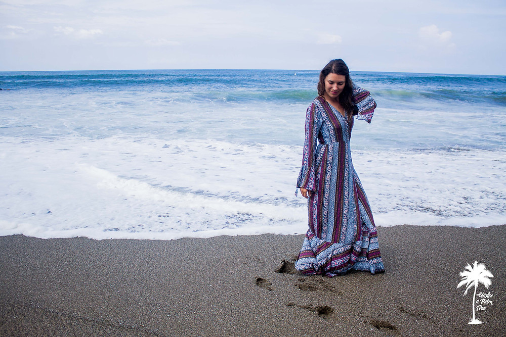 gypsy dress bell sleeves bali beach photoshoot under a palm tree