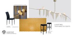 Pendant lights, bar tiles, chair moodboa