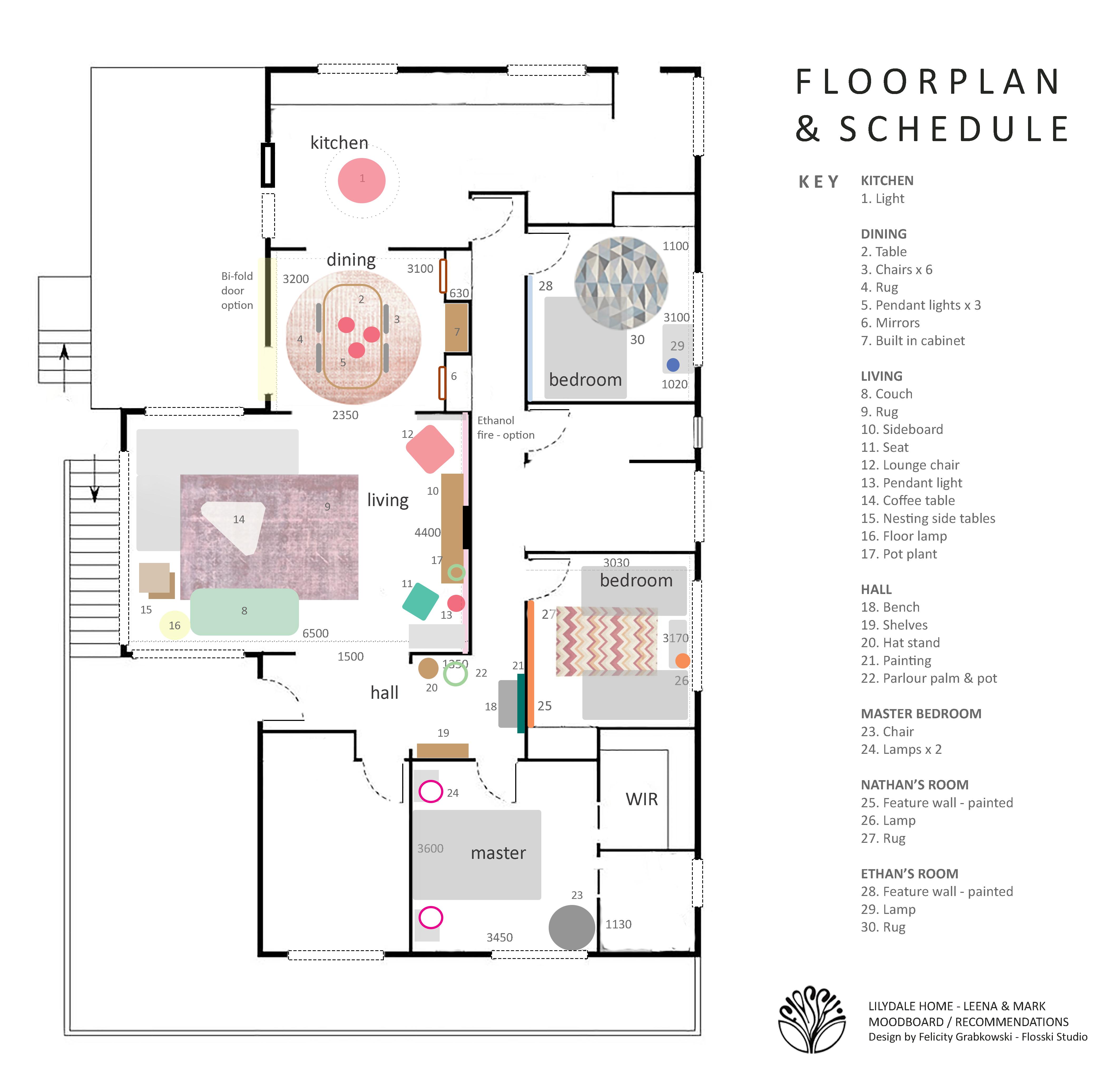 Lilydale interior - Plan and schedule -