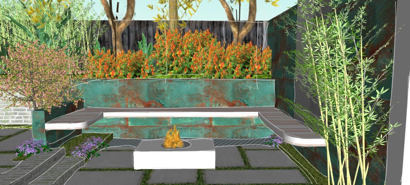 Backyard sunken seating fire area - 311.