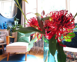 Festive blooms in the living room
