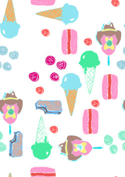 Sweet elements pattern white background