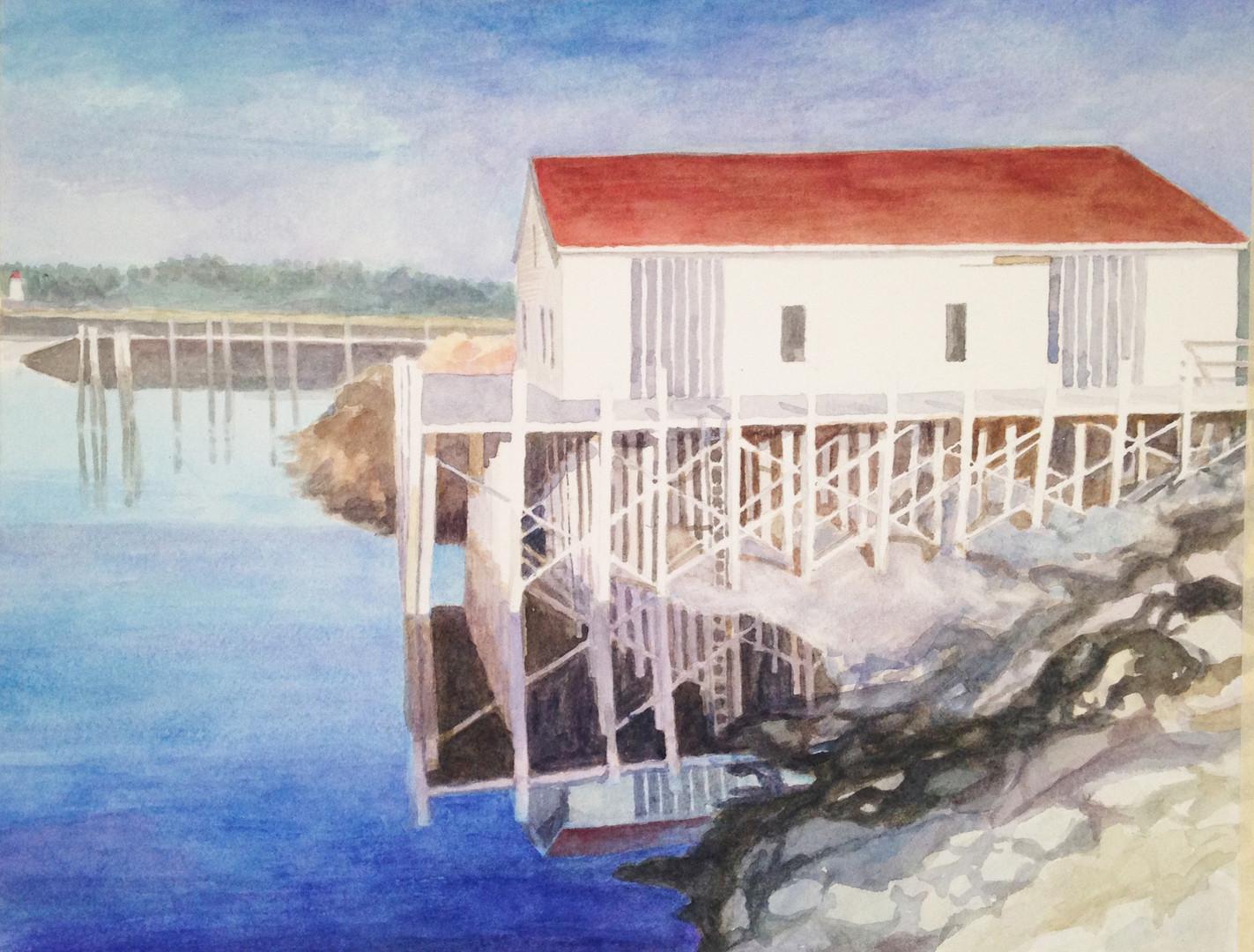 Blue Lubec Harbor