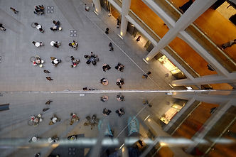 View from balcony of a university atrium