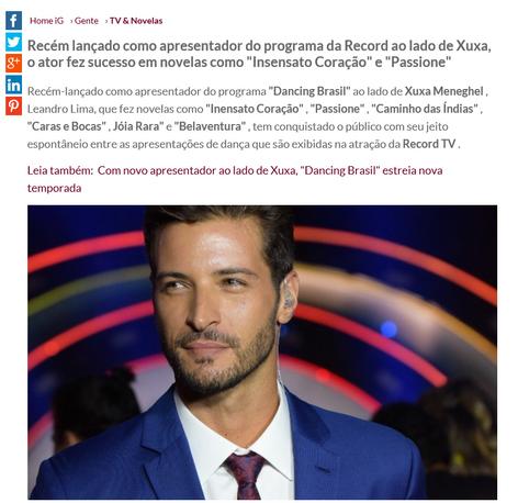 "Leandro Lima, de ""Dancing Brasil"" protagoniza cena de beijo gay em filme"
