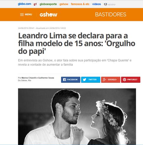 Leandro Lima se declara para a filha modelo de 15 anos: 'Orgulho do papi'