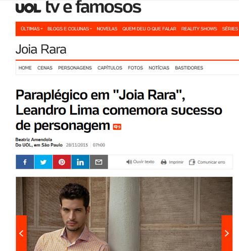 """Paraplégico em """"Joia Rara"""", Leandro Lima comemora sucesso de personagem."""
