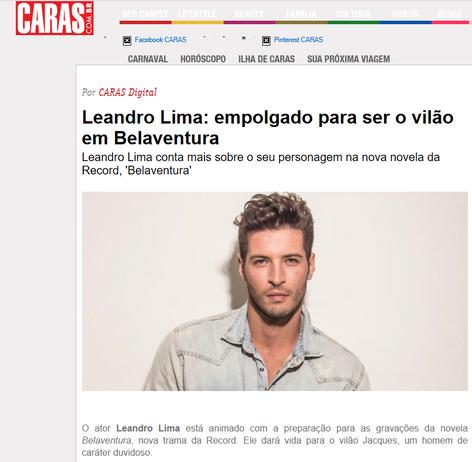 Leandro Lima: empolgado para ser o vilão em Belaventura
