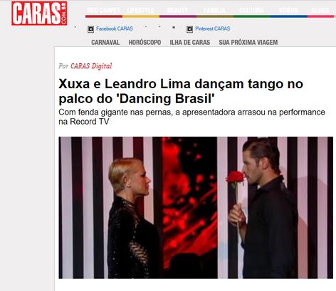 Xuxa e Leandro Lima dançam tango no palco do 'Dancing Brasil'