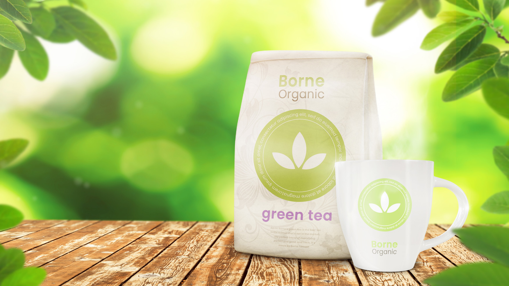Cup and Tea Packet on Green Background.j
