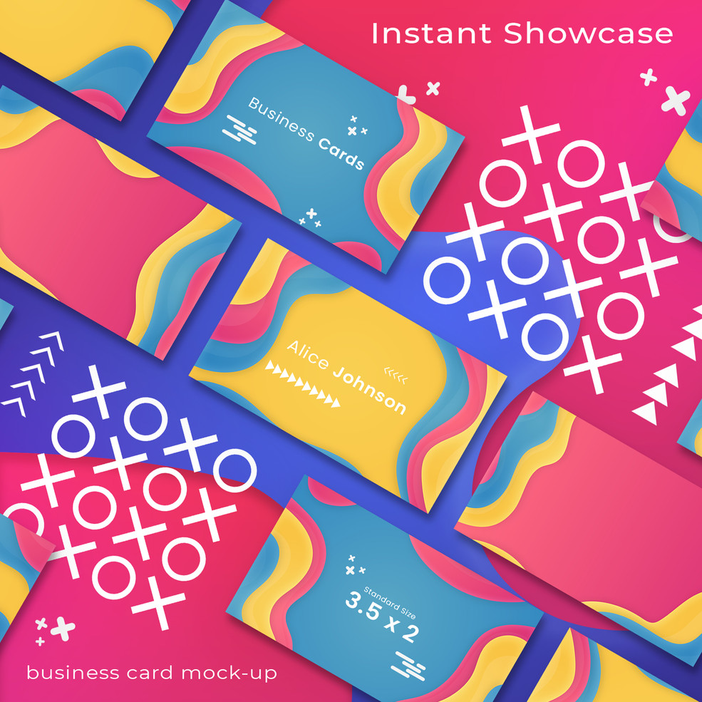 Colorful Abstract Business Card Mock Up