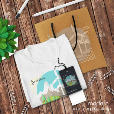 T-shirt and branding mockup