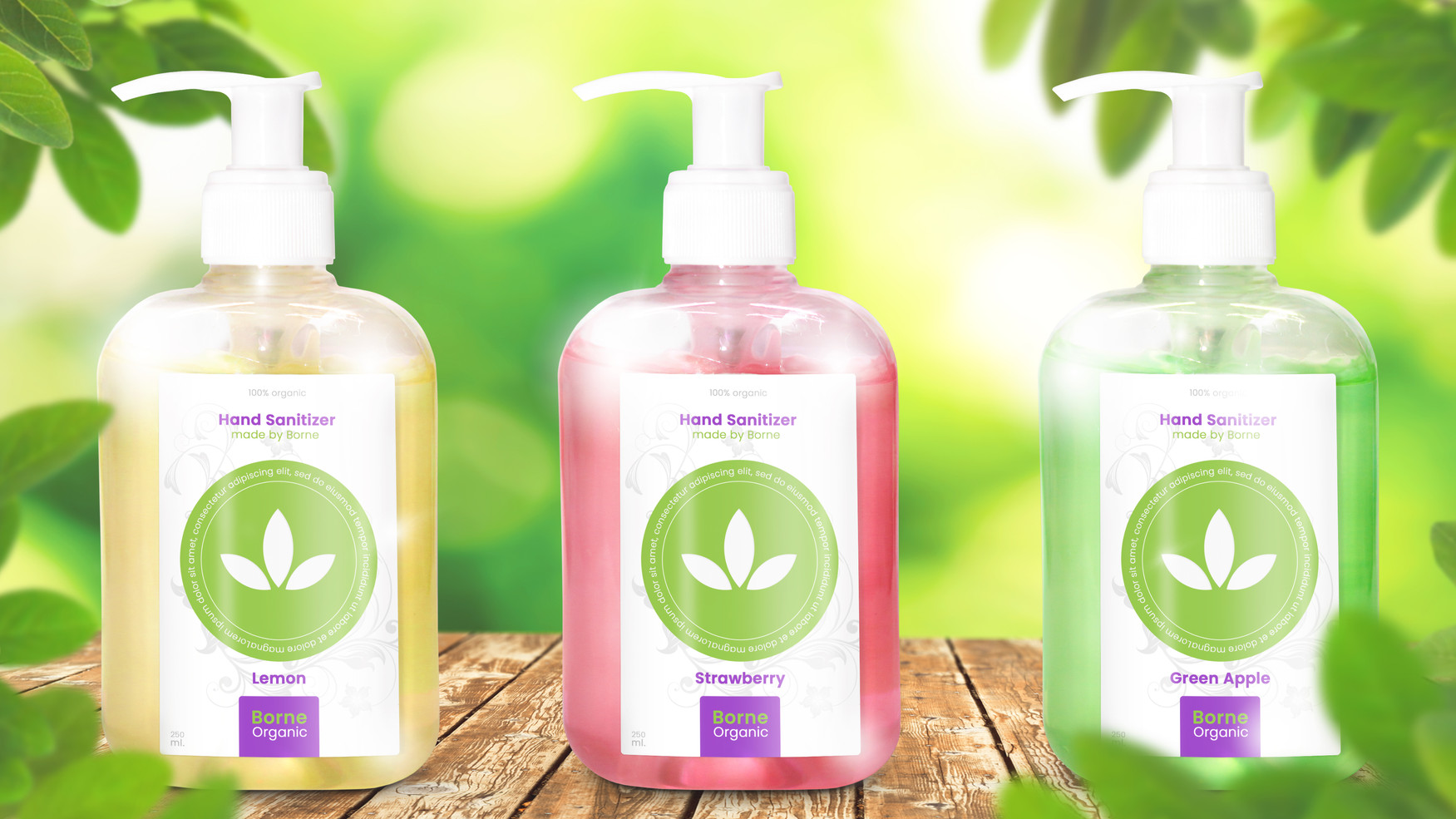 Three Bottles of Organic Hand Sanitizer.