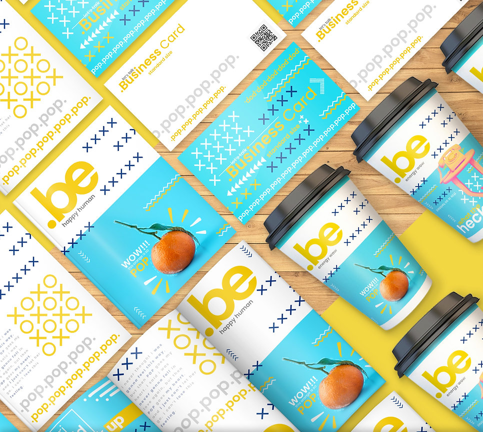 Yellow and Blue Shop Branding Mockup