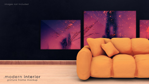 Modern Picture Frame Mockup with Couch Mockup