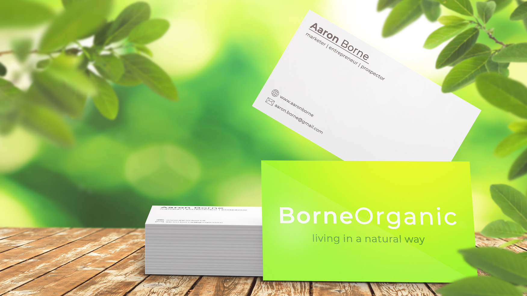 Business Card on Table with Green BG new
