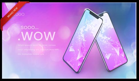 Colorful, modern iphone 11 mockup