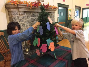Decorating the Mitten Tree