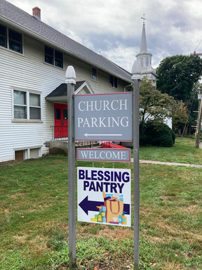 Blessing Pantry road sign