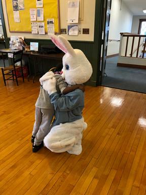 An Easter Bunny hug