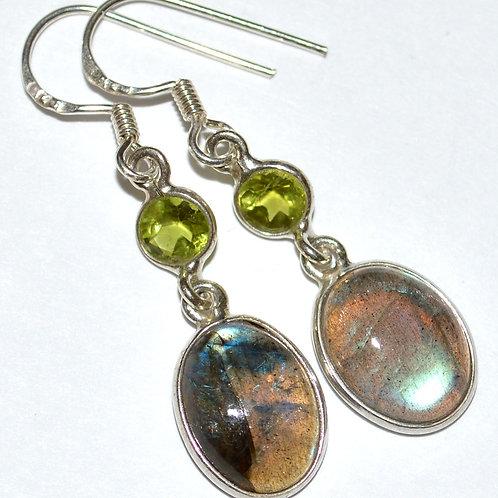 Labradorite & Peridot 925 Sterling Silver Earrings
