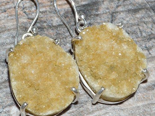 Citrine Druzy 925 Sterling Silver Earrings
