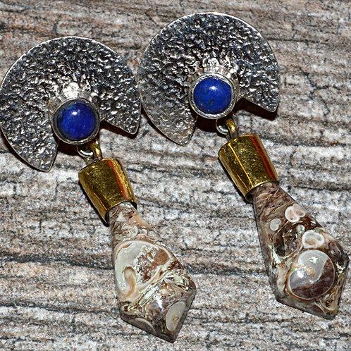 Turtella Jasper & Lapis Two Tone 925 Sterling Silver Earrings