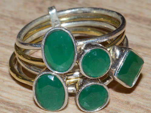 Bejeweled Two Tone Green Onyx Multi-Layer rings Size 7