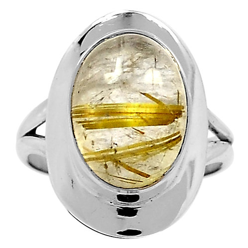 Golden Rutilated Quartz 925 Sterling Silver Ring s. 7