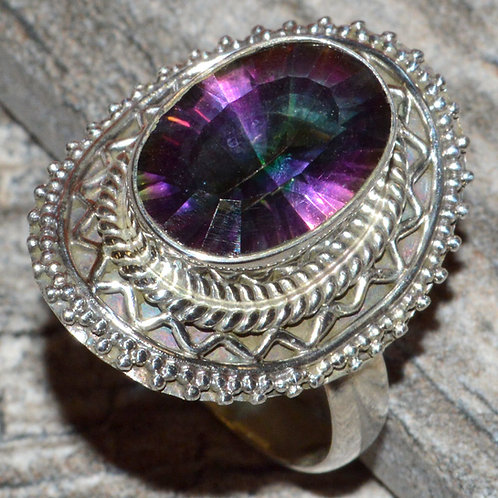 Rainbow Topaz 925 Sterling Silver Ring size 9