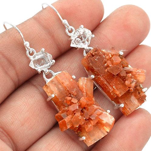 Aragonite Star & Herkimer Diamond 925 Sterling Silver Earrings