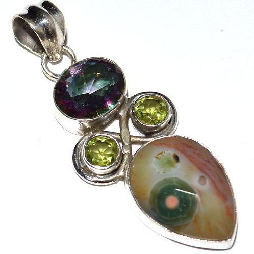 Ocean Jasper & Rainbow Topaz & Peridot 925 Sterling Silver Necklace