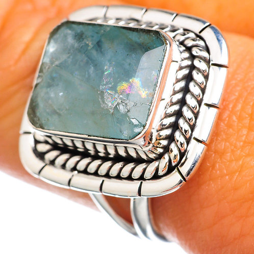 Aquamarine 925 Sterling Silver Ring Size 8.75