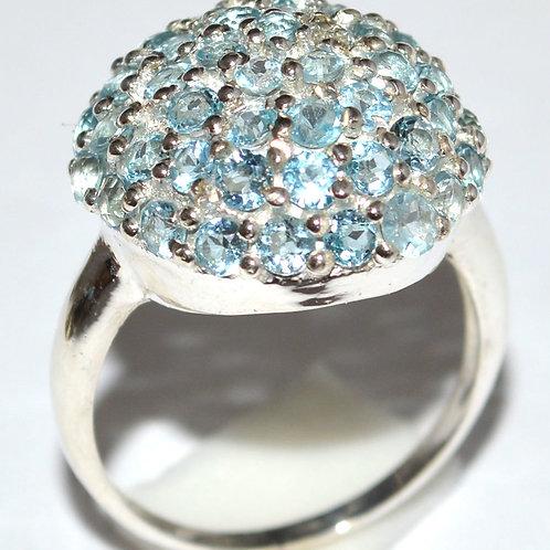 Blue Topaz Orb 925 Sterling Silver Ring s.ize 7