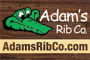 Adams Rib Co. logo with wood background.