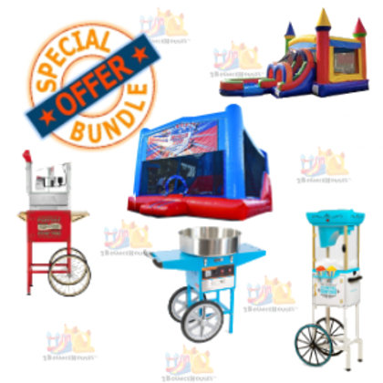 1 Deluxe | 1 Standard Bounce House + 3 Concessions