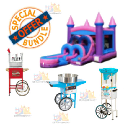 Purple/Pink Standard Bounce House + 3 Concessions