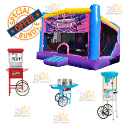 Pink Deluxe Bounce House + 3 Concessions Combo