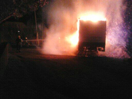 Lorry burning