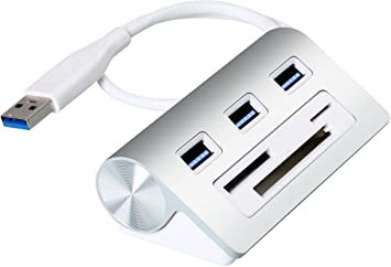 Cateck Bus-Powered USB 3 0 3-Port Aluminum Hub w Multi-in-1 3-slots Card Reader