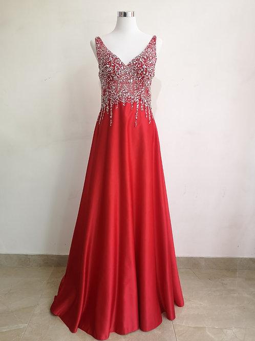 Ref9001 Robe femme strass Rouge