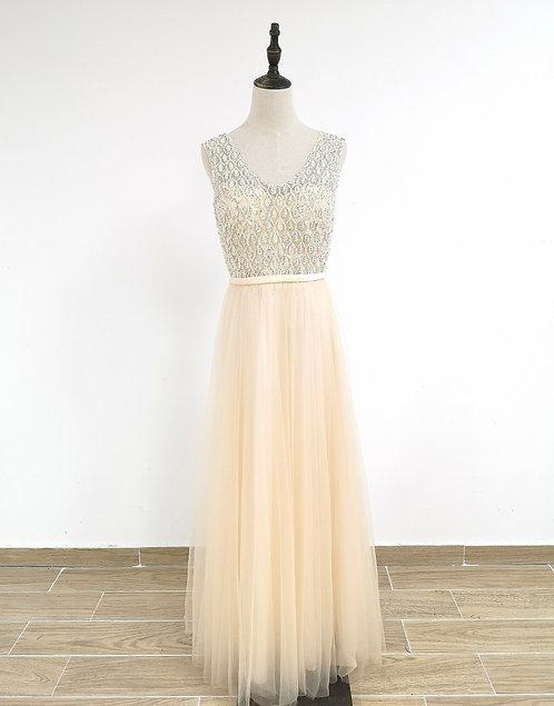 8005 -Robe Femme de cérémonie en tulle Champagne
