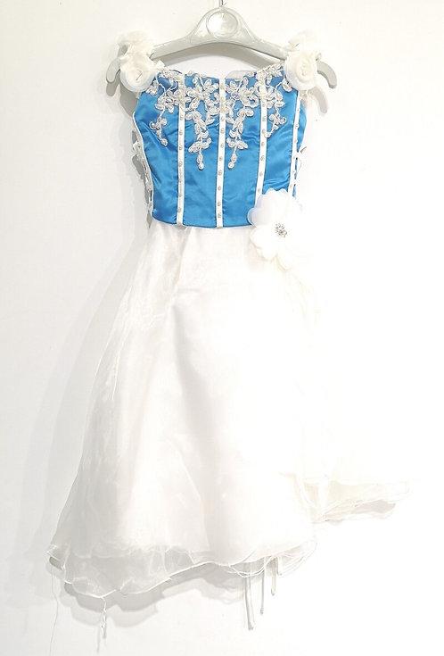 Ref902 Robe cérémonie blanc/turquoise
