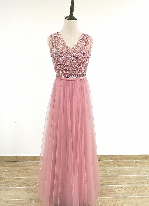 8005 -Robe Femme de cérémonie en tulle Rose