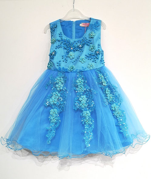 Réf809 Robe fille Turquoise
