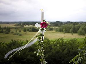 Ljus med blommor