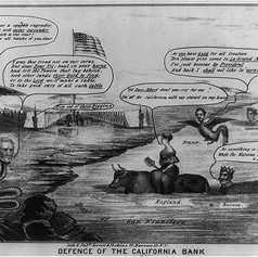 Perkins, S. Lee, and Henry Serrell. Defense of the California Bank. California France Great Britain Russia San Francisco, 1849. N.Y.- Lith & pubd by Henry Serrell & S. Lee Perkins. Photograph. https-::www.loc.gov:item:2008661517:.