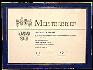 Meisterbrief von Zimmermeister Martin Schwandt
