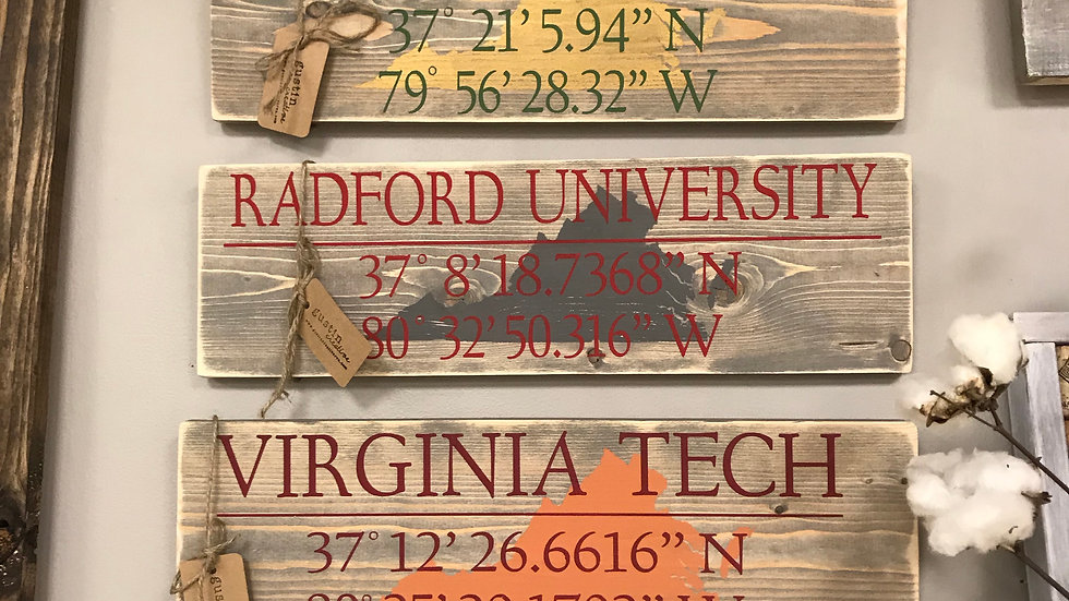 school coordinates wood signs